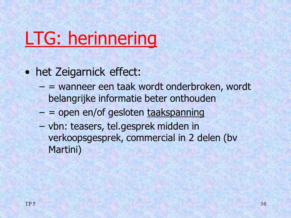 LTG: herinnering het Zeigarnick effect: