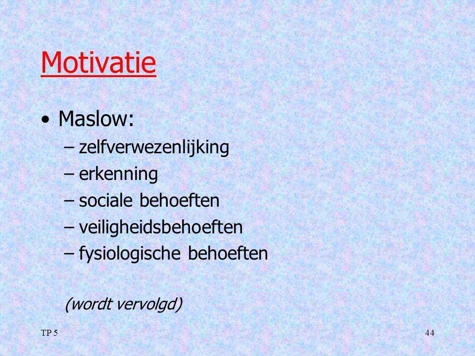 Motivatie Maslow: zelfverwezenlijking erkenning sociale behoeften