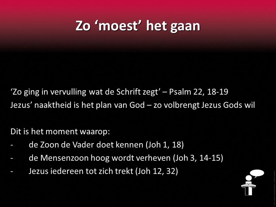 Zo 'moest' het gaan 'Zo ging in vervulling wat de Schrift zegt' – Psalm 22, 18-19.