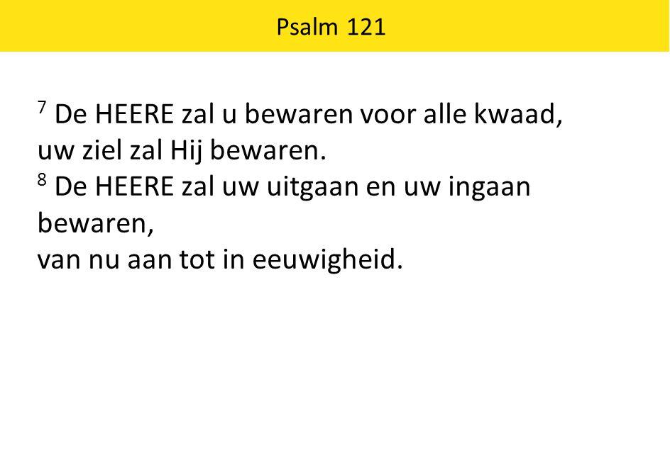7 De HEERE zal u bewaren voor alle kwaad, uw ziel zal Hij bewaren.