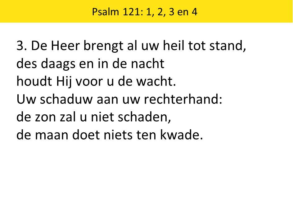3. De Heer brengt al uw heil tot stand, des daags en in de nacht