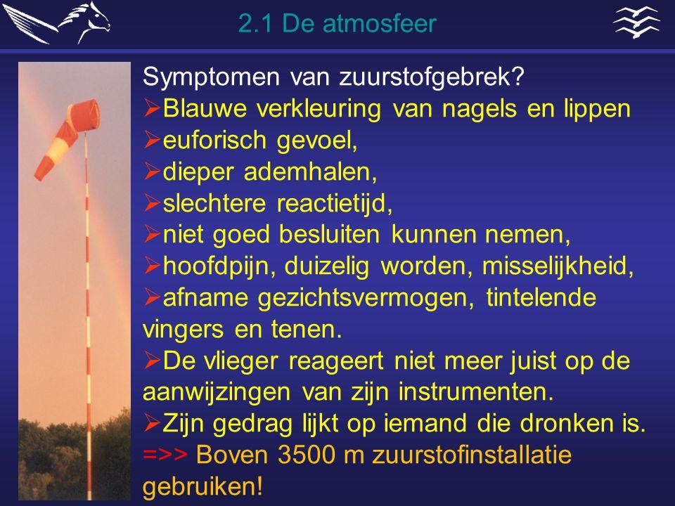 2.1 De atmosfeer Symptomen van zuurstofgebrek Blauwe verkleuring van nagels en lippen. euforisch gevoel,