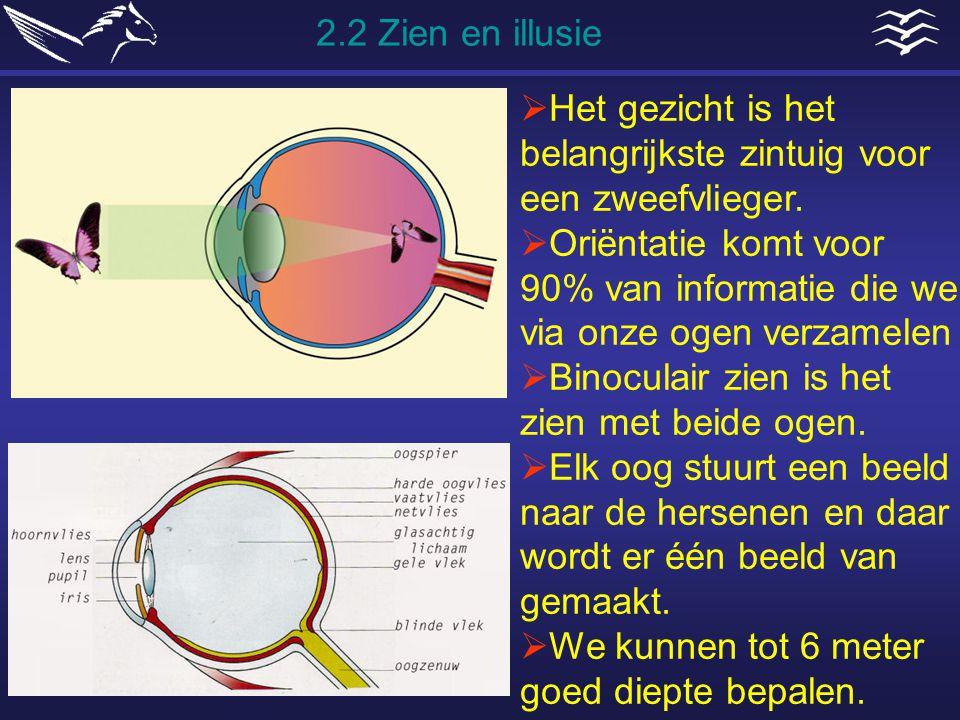 2.2 Zien en illusie Het gezicht is het belangrijkste zintuig voor een zweefvlieger.
