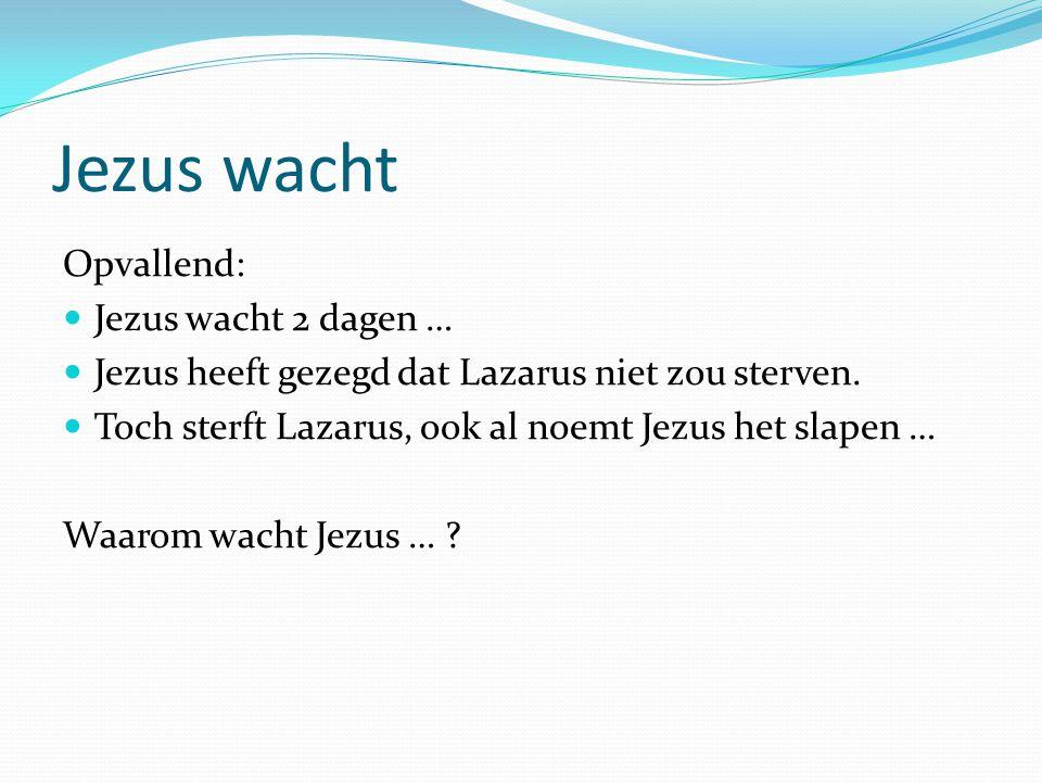 Jezus wacht Opvallend: Jezus wacht 2 dagen …