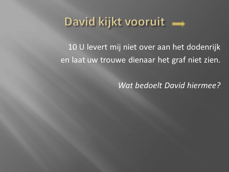 David kijkt vooruit 10 U levert mij niet over aan het dodenrijk en laat uw trouwe dienaar het graf niet zien.
