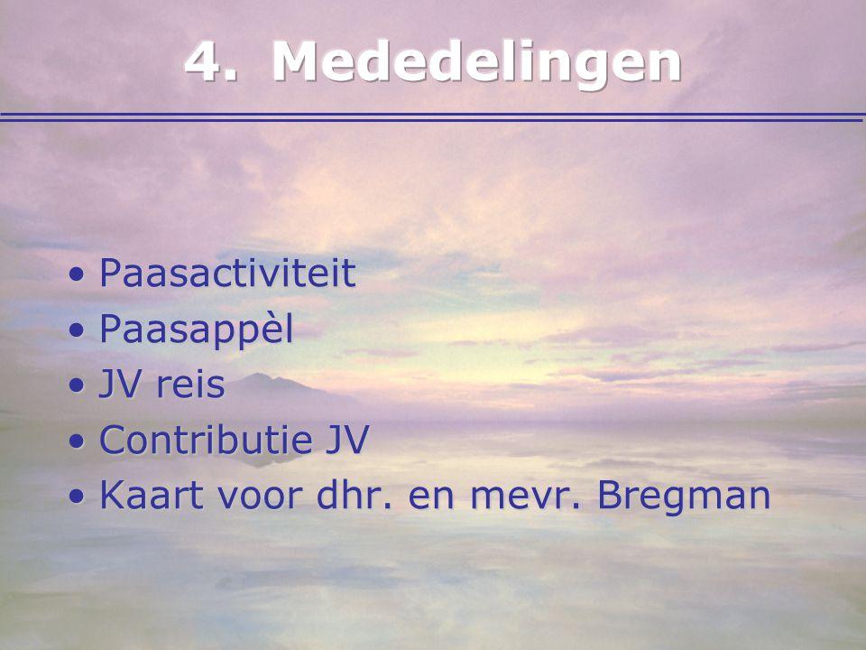 4. Mededelingen Paasactiviteit Paasappèl JV reis Contributie JV