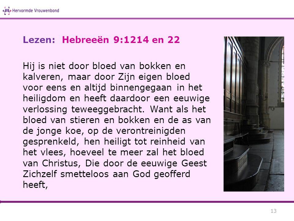 Lezen: Hebreeën 9:1214 en 22