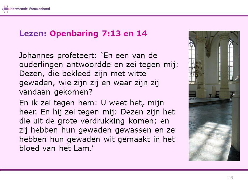 Lezen: Openbaring 7:13 en 14