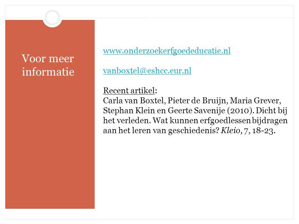 Besluit Voor meer informatie www.onderzoekerfgoededucatie.nl