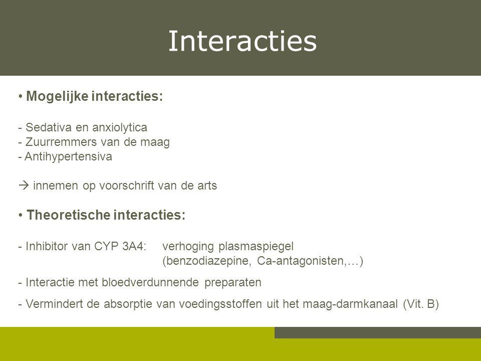 Interacties Mogelijke interacties: Theoretische interacties: