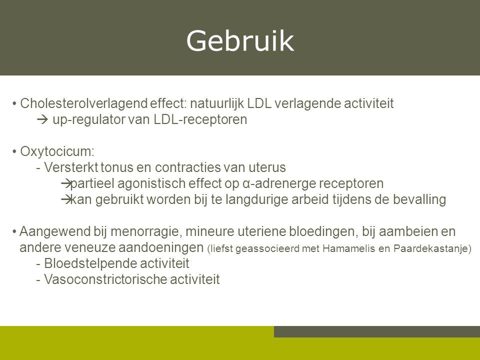 Gebruik Cholesterolverlagend effect: natuurlijk LDL verlagende activiteit.  up-regulator van LDL-receptoren.