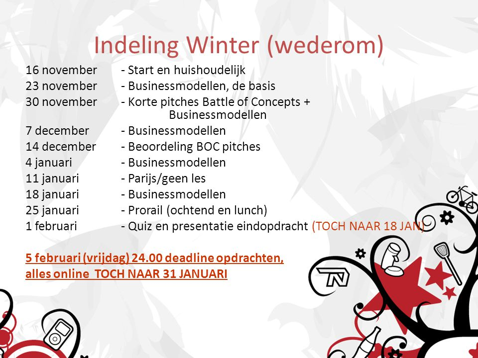 Indeling Winter (wederom)