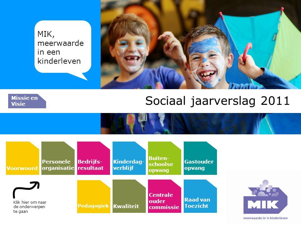 Sociaal jaarverslag 2011 MIK, meerwaarde in een kinderleven