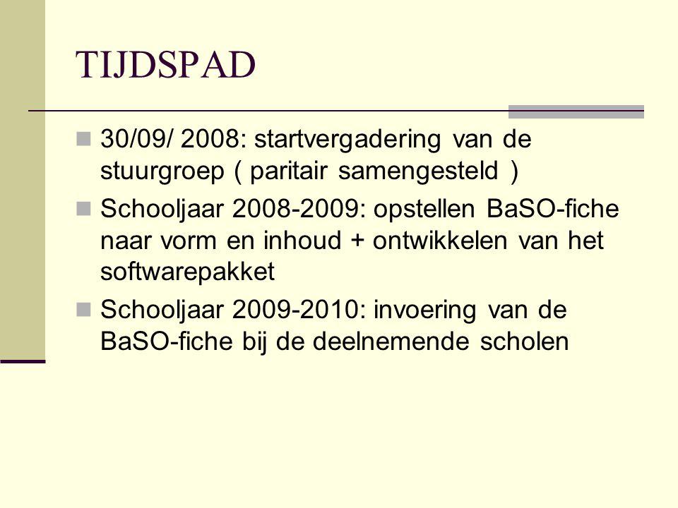 TIJDSPAD 30/09/ 2008: startvergadering van de stuurgroep ( paritair samengesteld )