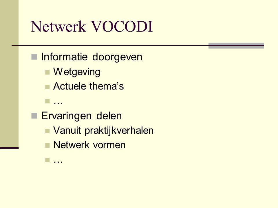 Netwerk VOCODI Informatie doorgeven Ervaringen delen Wetgeving