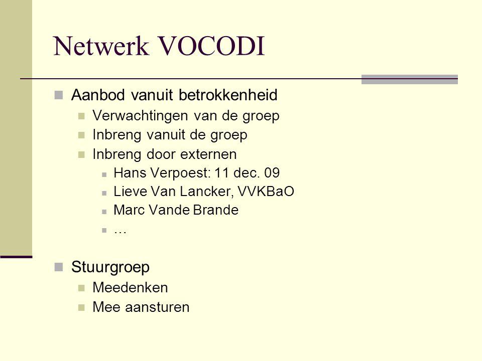 Netwerk VOCODI Aanbod vanuit betrokkenheid Stuurgroep