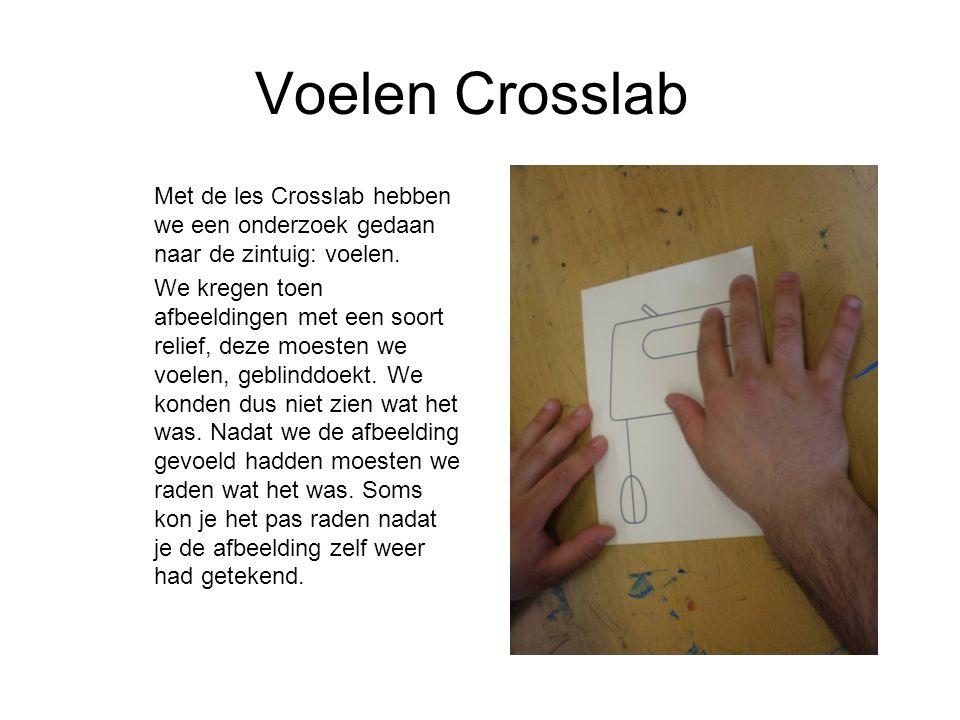 Voelen Crosslab Met de les Crosslab hebben we een onderzoek gedaan naar de zintuig: voelen.