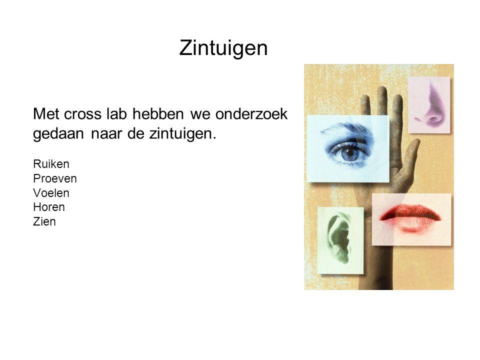 Zintuigen Met cross lab hebben we onderzoek gedaan naar de zintuigen.