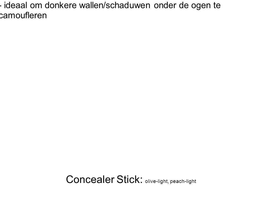 Concealer Stick: olive-light, peach-light