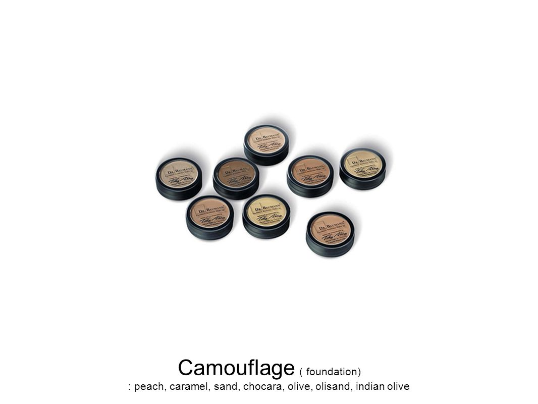 Camouflage ( foundation) : peach, caramel, sand, chocara, olive, olisand, indian olive