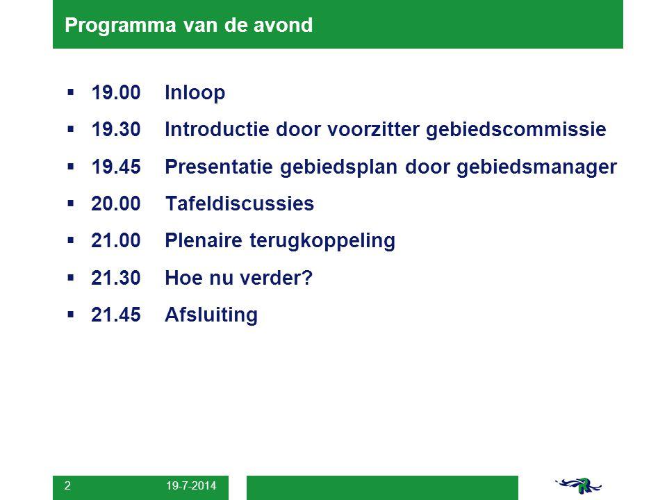 19.30 Introductie door voorzitter gebiedscommissie