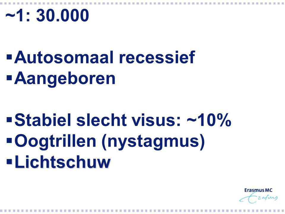Stabiel slecht visus: ~10% Oogtrillen (nystagmus) Lichtschuw