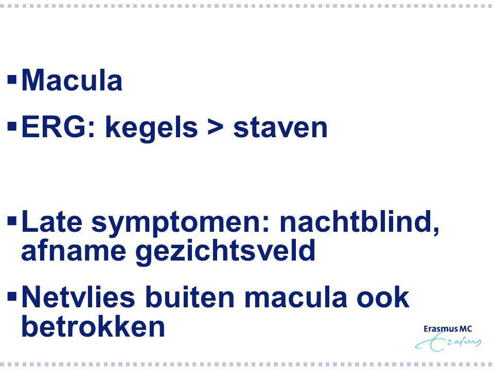 Macula ERG: kegels > staven. Late symptomen: nachtblind, afname gezichtsveld.