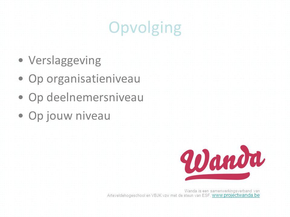 Opvolging Verslaggeving Op organisatieniveau Op deelnemersniveau
