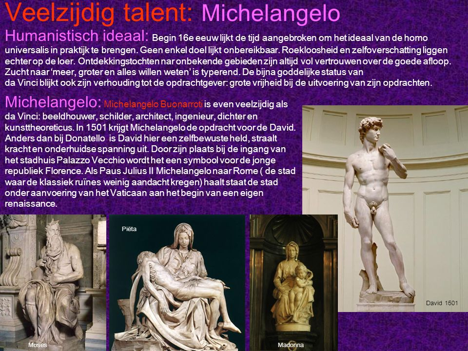Veelzijdig talent: Michelangelo