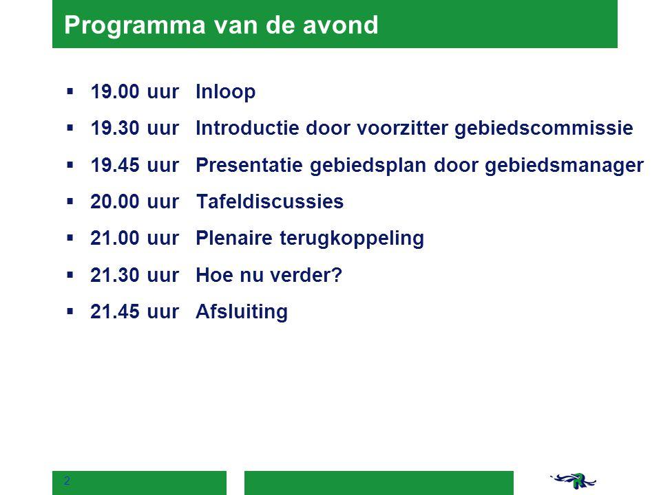 Programma van de avond 19.00 uur Inloop