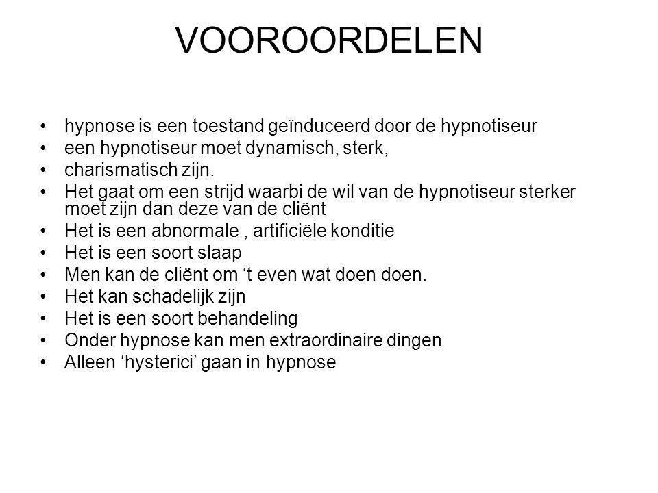 VOOROORDELEN hypnose is een toestand geïnduceerd door de hypnotiseur