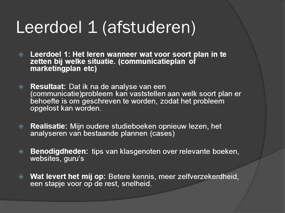 Leerdoel 1 (afstuderen)