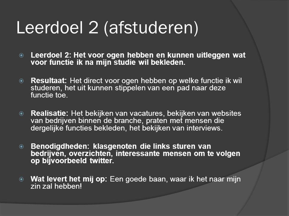 Leerdoel 2 (afstuderen)