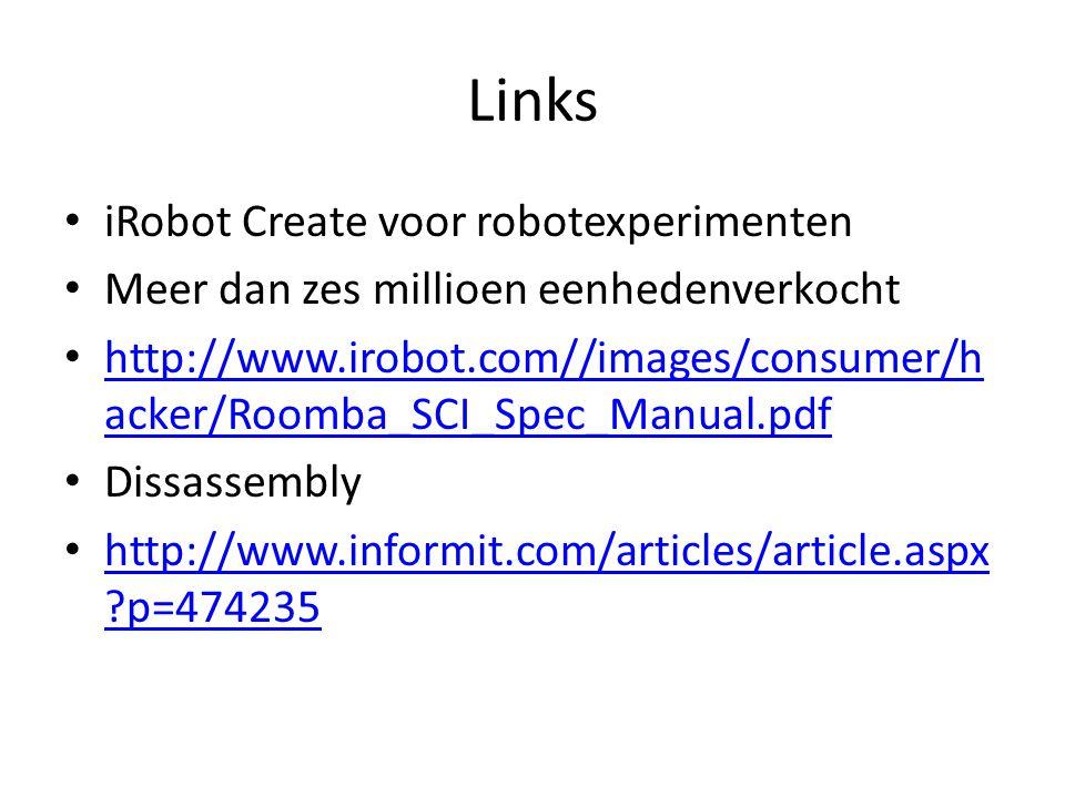 Links iRobot Create voor robotexperimenten