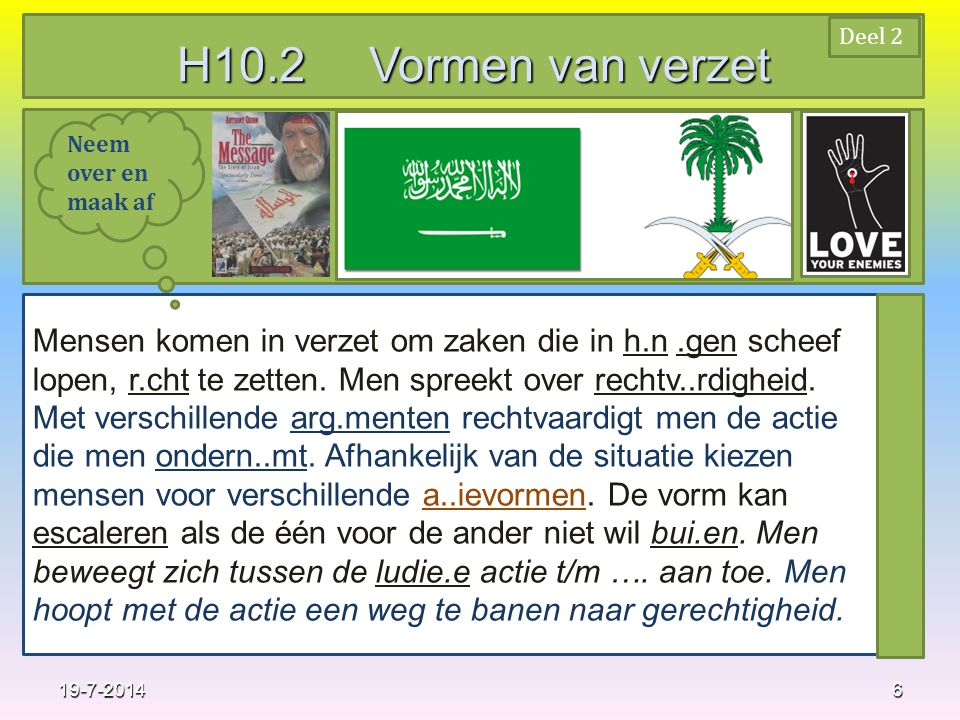 H10.2 Vormen van verzet Deel 2. Neem over en maak af.