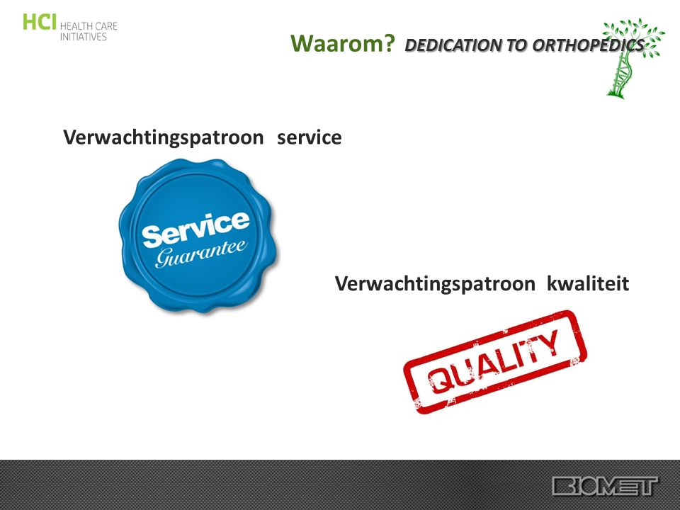 DEDICATION TO ORTHOPEDICS Verwachtingspatroon kwaliteit