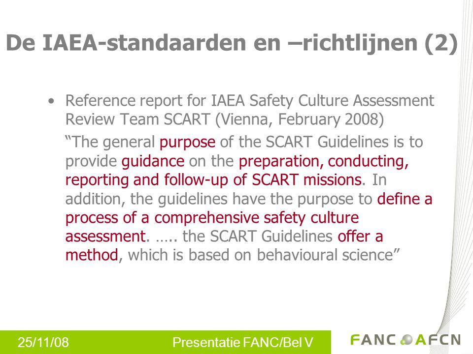 De IAEA-standaarden en –richtlijnen (2)
