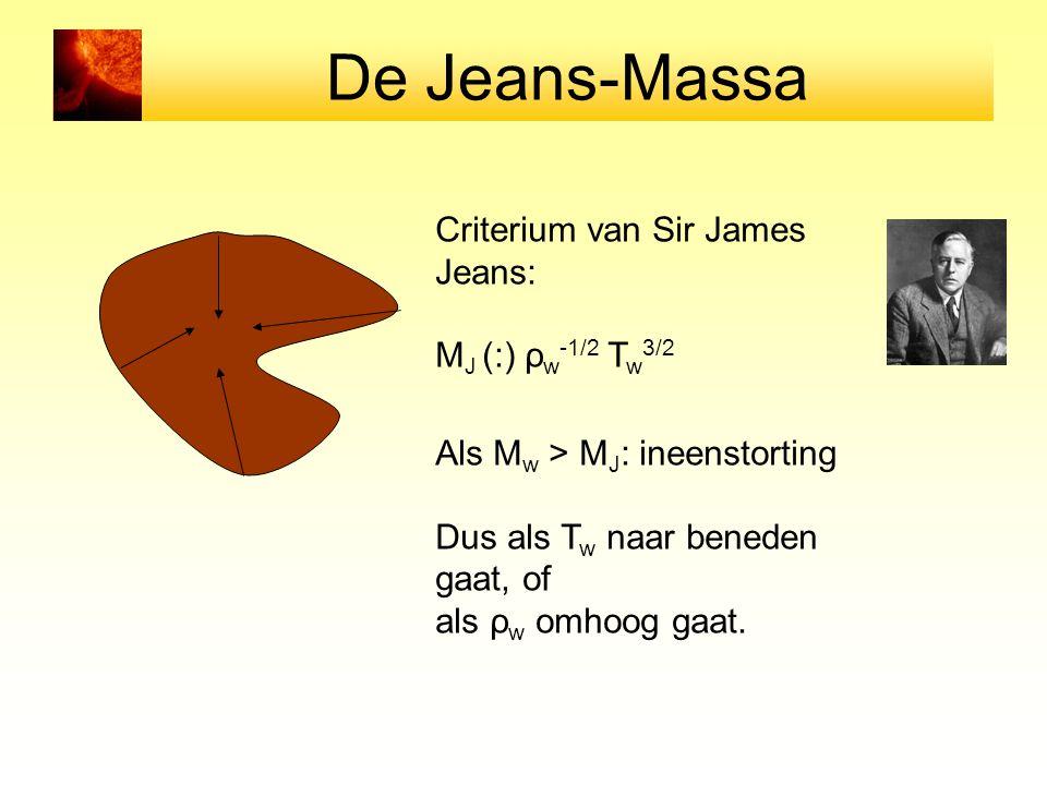 De Jeans-Massa Criterium van Sir James Jeans: MJ (:) ρw-1/2 Tw3/2