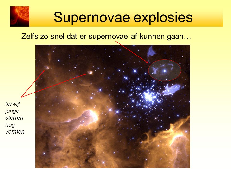 Supernovae explosies Zelfs zo snel dat er supernovae af kunnen gaan…