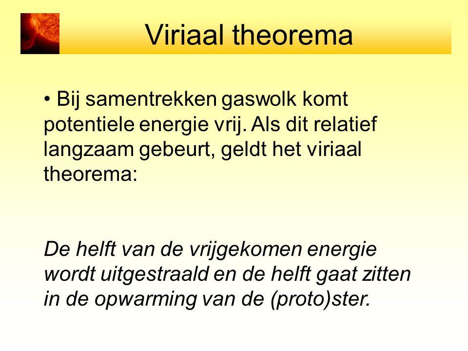 Viriaal theorema Bij samentrekken gaswolk komt