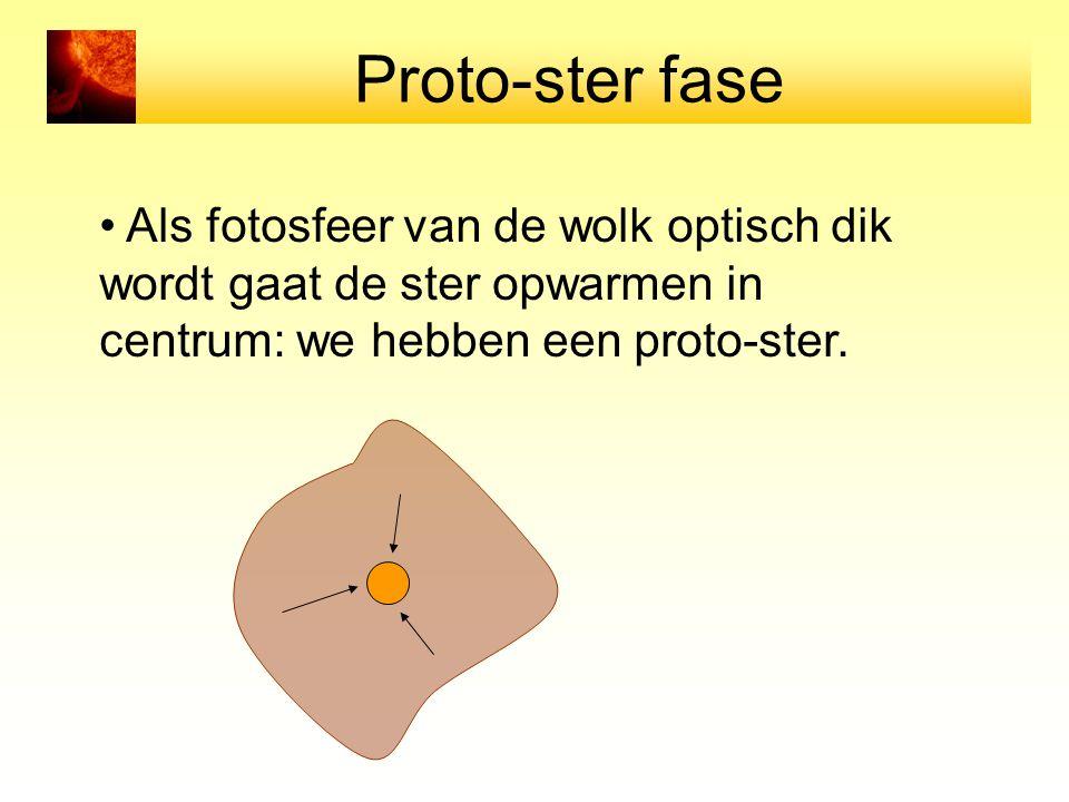 Proto-ster fase Als fotosfeer van de wolk optisch dik wordt gaat de ster opwarmen in centrum: we hebben een proto-ster.