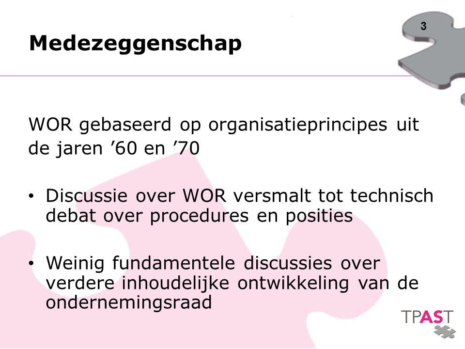Medezeggenschap WOR gebaseerd op organisatieprincipes uit