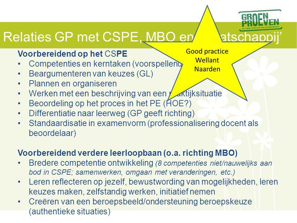 Relaties GP met CSPE, MBO en 'maatschappij'