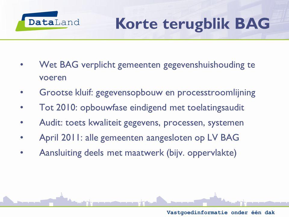 Korte terugblik BAG Wet BAG verplicht gemeenten gegevenshuishouding te voeren. Grootse kluif: gegevensopbouw en processtroomlijning.