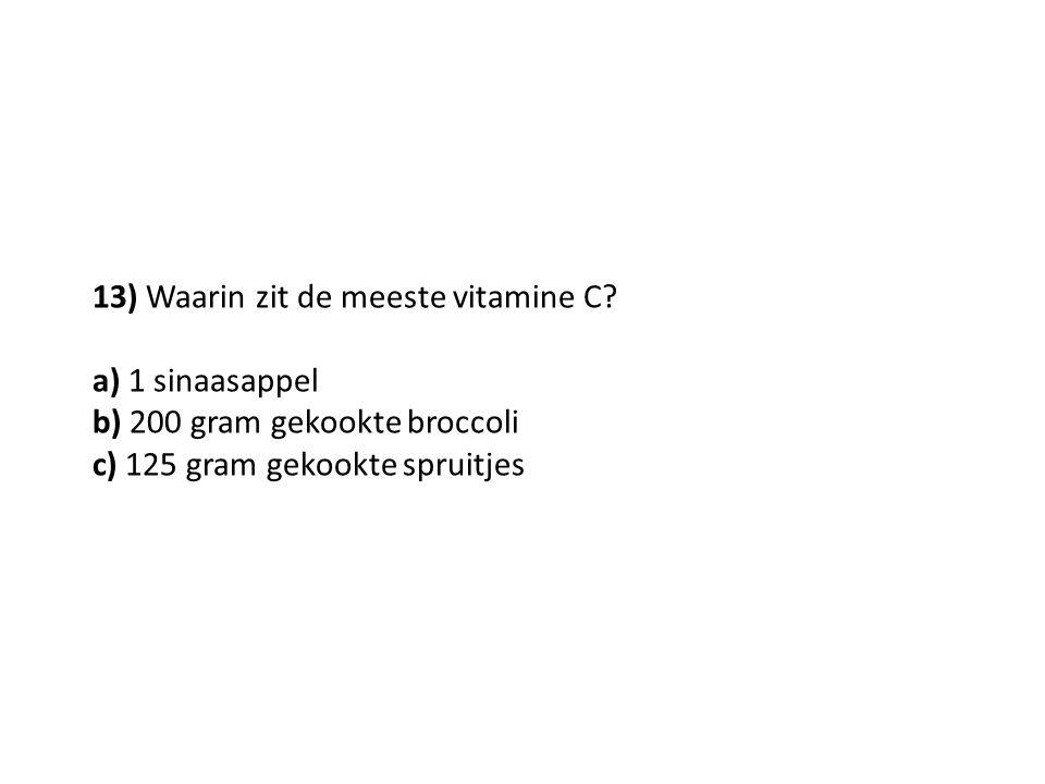 13) Waarin zit de meeste vitamine C