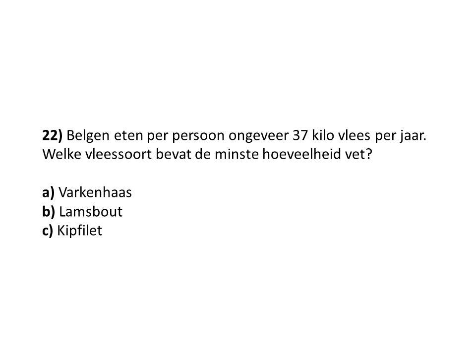22) Belgen eten per persoon ongeveer 37 kilo vlees per jaar