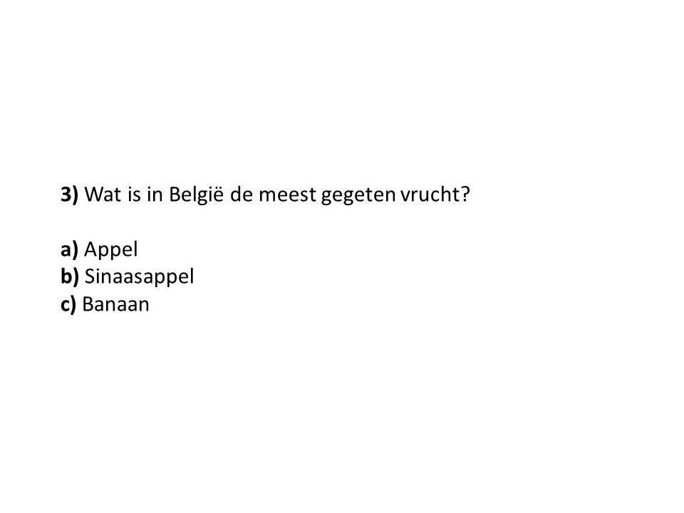 3) Wat is in België de meest gegeten vrucht