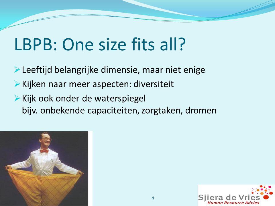 LBPB: One size fits all Leeftijd belangrijke dimensie, maar niet enige. Kijken naar meer aspecten: diversiteit.