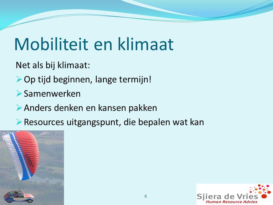 Mobiliteit en klimaat Net als bij klimaat:
