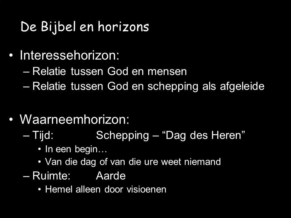 De Bijbel en horizons Interessehorizon: Waarneemhorizon: